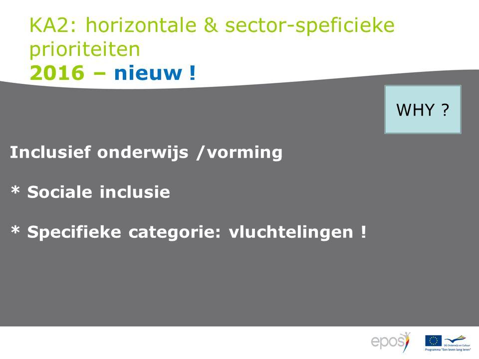 KA2: horizontale & sector-speficieke prioriteiten 2016 – nieuw .