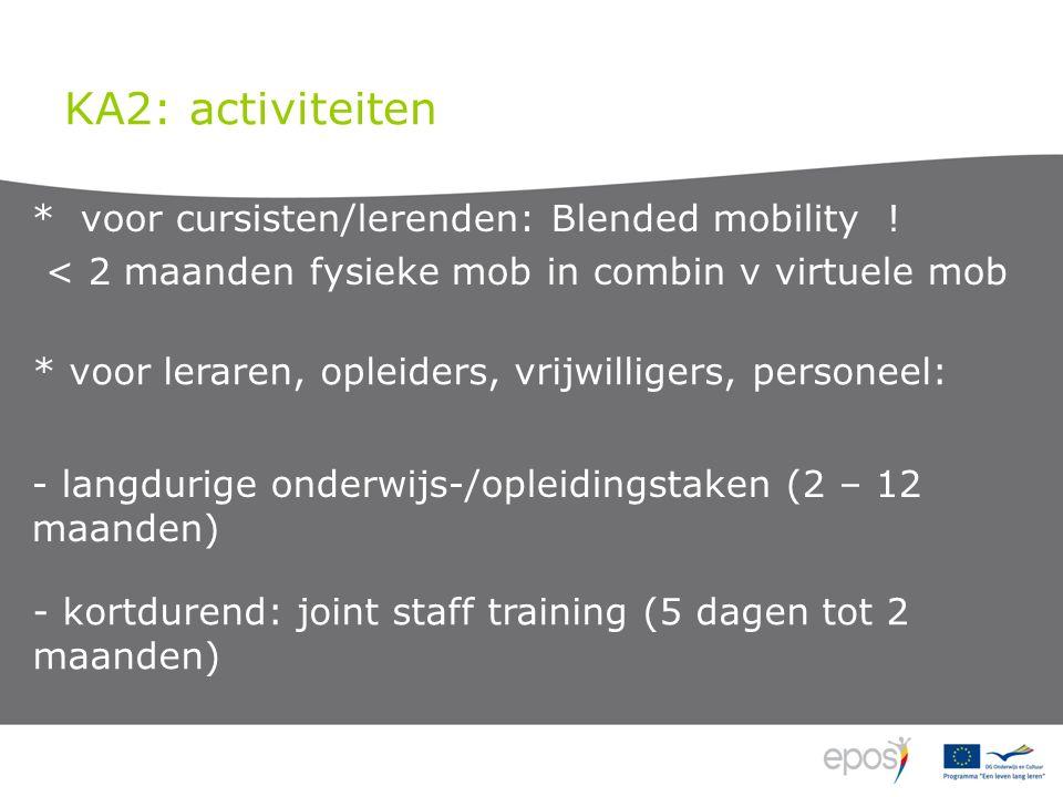 KA2: activiteiten * voor cursisten/lerenden: Blended mobility .