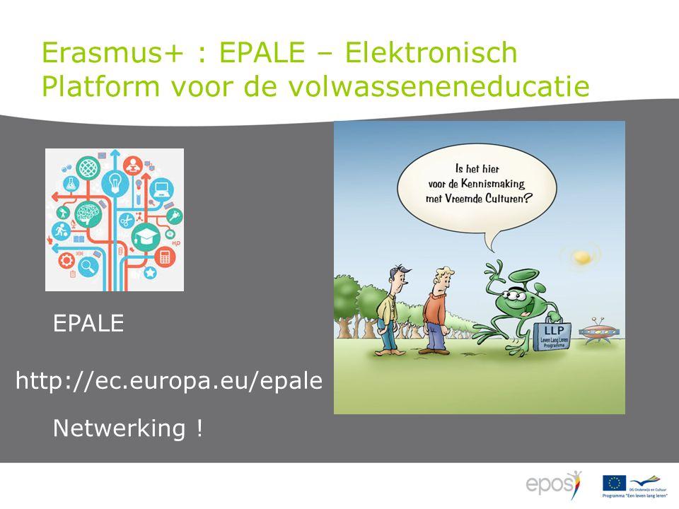 Erasmus+ : EPALE – Elektronisch Platform voor de volwasseneneducatie EPALE Netwerking .