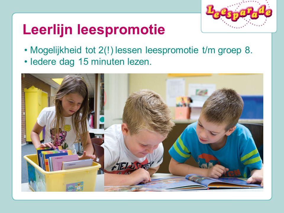 Leerlijn leespromotie Mogelijkheid tot 2(!) lessen leespromotie t/m groep 8. Iedere dag 15 minuten lezen.