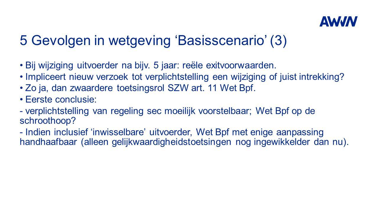 5 Gevolgen in wetgeving 'Basisscenario' (3) Bij wijziging uitvoerder na bijv. 5 jaar: reële exitvoorwaarden. Impliceert nieuw verzoek tot verplichtste