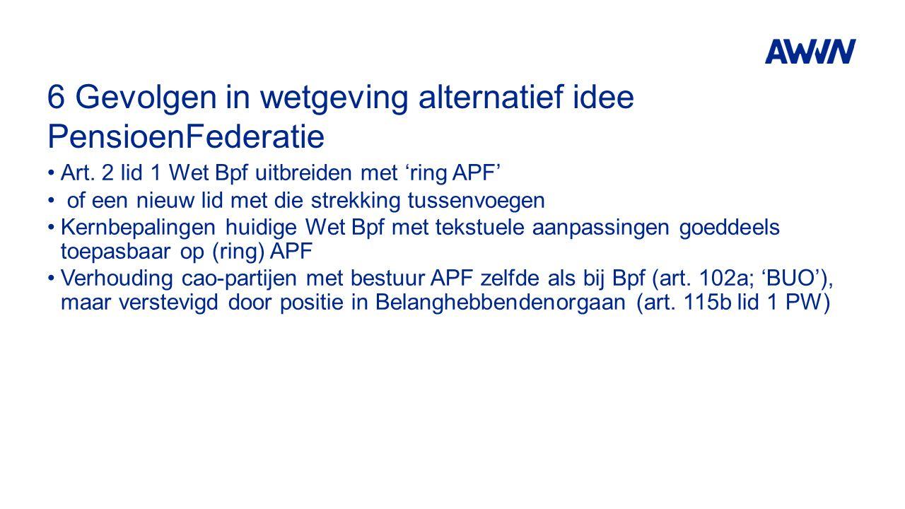 6 Gevolgen in wetgeving alternatief idee PensioenFederatie Art. 2 lid 1 Wet Bpf uitbreiden met 'ring APF' of een nieuw lid met die strekking tussenvoe