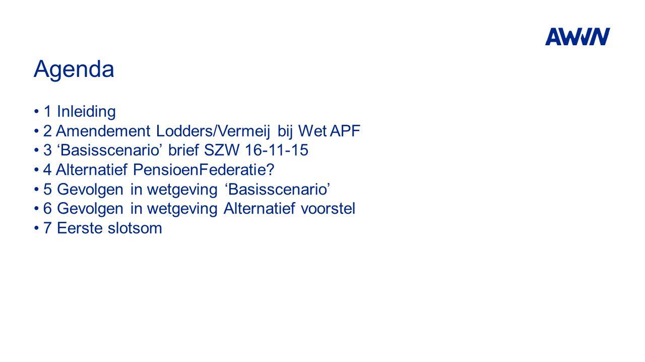 Agenda 1 Inleiding 2 Amendement Lodders/Vermeij bij Wet APF 3 'Basisscenario' brief SZW 16-11-15 4 Alternatief PensioenFederatie? 5 Gevolgen in wetgev
