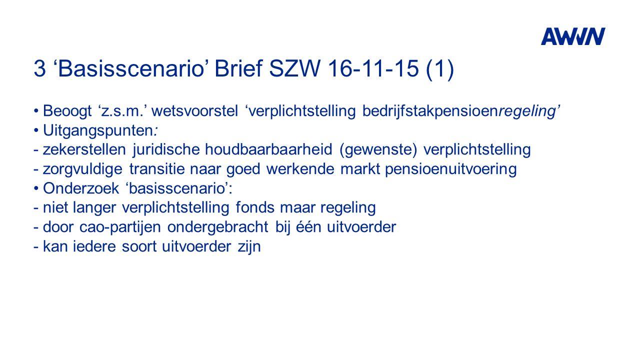 3 'Basisscenario' Brief SZW 16-11-15 (1) Beoogt 'z.s.m.' wetsvoorstel 'verplichtstelling bedrijfstakpensioenregeling' Uitgangspunten: -zekerstellen juridische houdbaarbaarheid (gewenste) verplichtstelling -zorgvuldige transitie naar goed werkende markt pensioenuitvoering Onderzoek 'basisscenario': -niet langer verplichtstelling fonds maar regeling -door cao-partijen ondergebracht bij één uitvoerder -kan iedere soort uitvoerder zijn