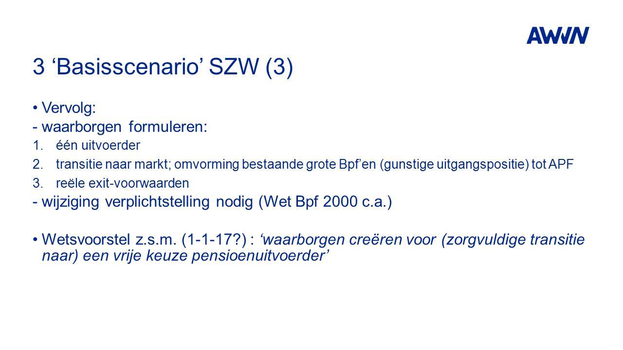 3 'Basisscenario' SZW (3) Vervolg: - waarborgen formuleren: 1.één uitvoerder 2.transitie naar markt; omvorming bestaande grote Bpf'en (gunstige uitgangspositie) tot APF 3.reële exit-voorwaarden -wijziging verplichtstelling nodig (Wet Bpf 2000 c.a.) Wetsvoorstel z.s.m.