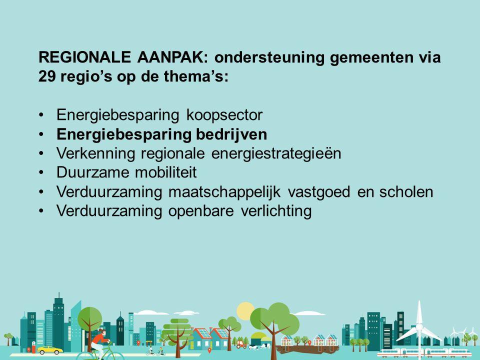 Vereniging van Nederlandse Gemeenten REGIONALE AANPAK: ondersteuning gemeenten via 29 regio's op de thema's: Energiebesparing koopsector Energiebespar