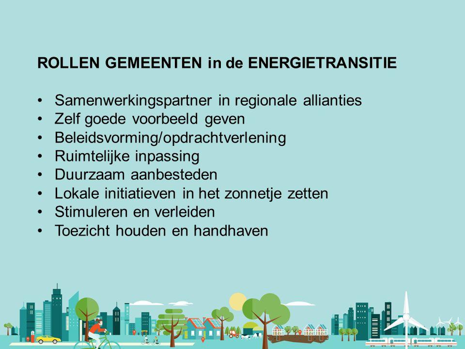 Vereniging van Nederlandse Gemeenten ROLLEN GEMEENTEN in de ENERGIETRANSITIE Samenwerkingspartner in regionale allianties Zelf goede voorbeeld geven B