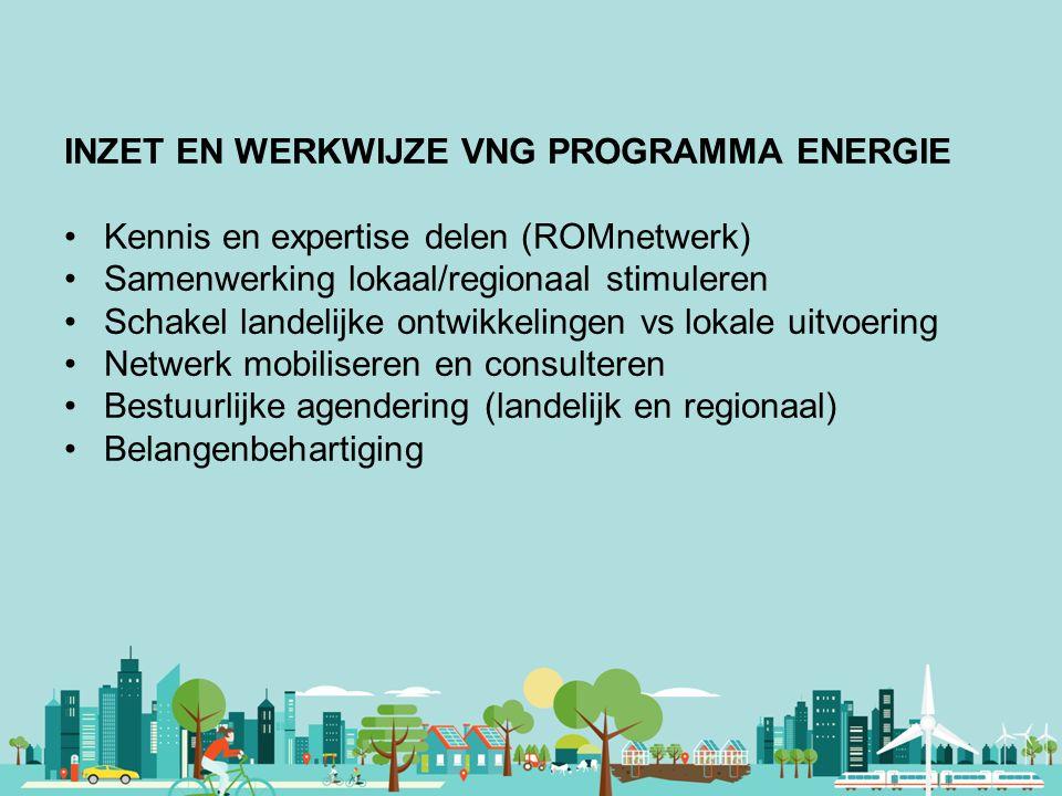 Vereniging van Nederlandse Gemeenten INZET EN WERKWIJZE VNG PROGRAMMA ENERGIE Kennis en expertise delen (ROMnetwerk) Samenwerking lokaal/regionaal sti