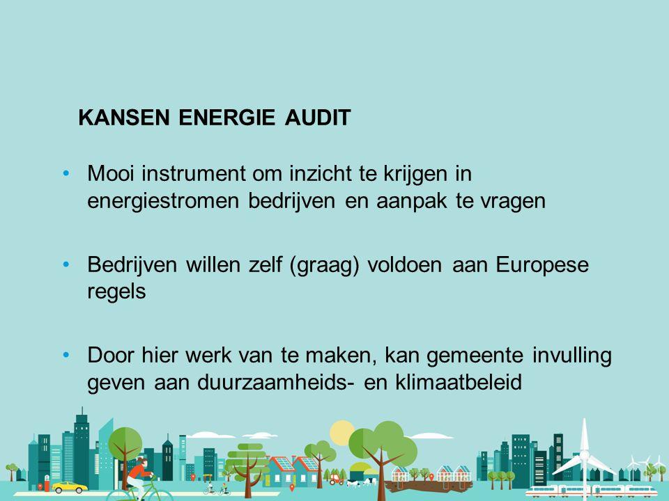 Vereniging van Nederlandse Gemeenten KANSEN ENERGIE AUDIT Mooi instrument om inzicht te krijgen in energiestromen bedrijven en aanpak te vragen Bedrij