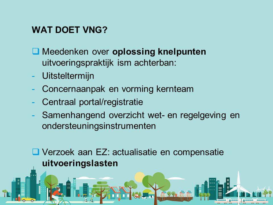 Vereniging van Nederlandse Gemeenten WAT DOET VNG?  Meedenken over oplossing knelpunten uitvoeringspraktijk ism achterban: -Uitsteltermijn -Concernaa