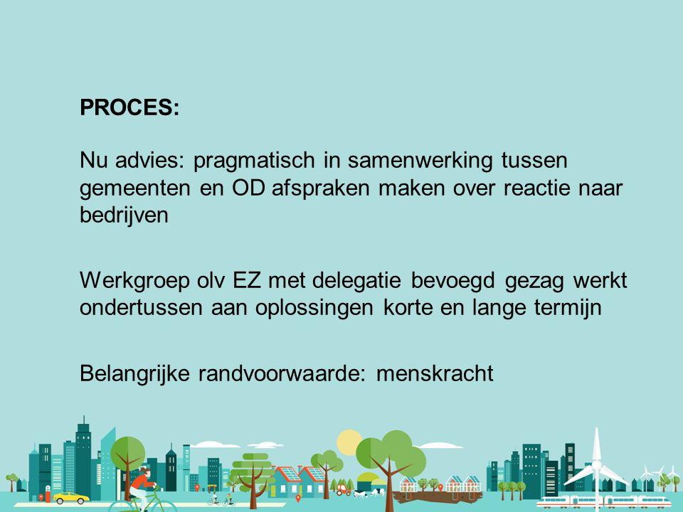Vereniging van Nederlandse Gemeenten PROCES: Nu advies: pragmatisch in samenwerking tussen gemeenten en OD afspraken maken over reactie naar bedrijven