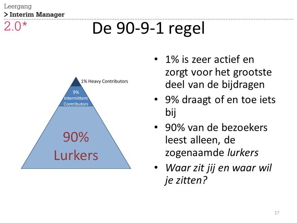 De 90-9-1 regel 1% is zeer actief en zorgt voor het grootste deel van de bijdragen 9% draagt of en toe iets bij 90% van de bezoekers leest alleen, de