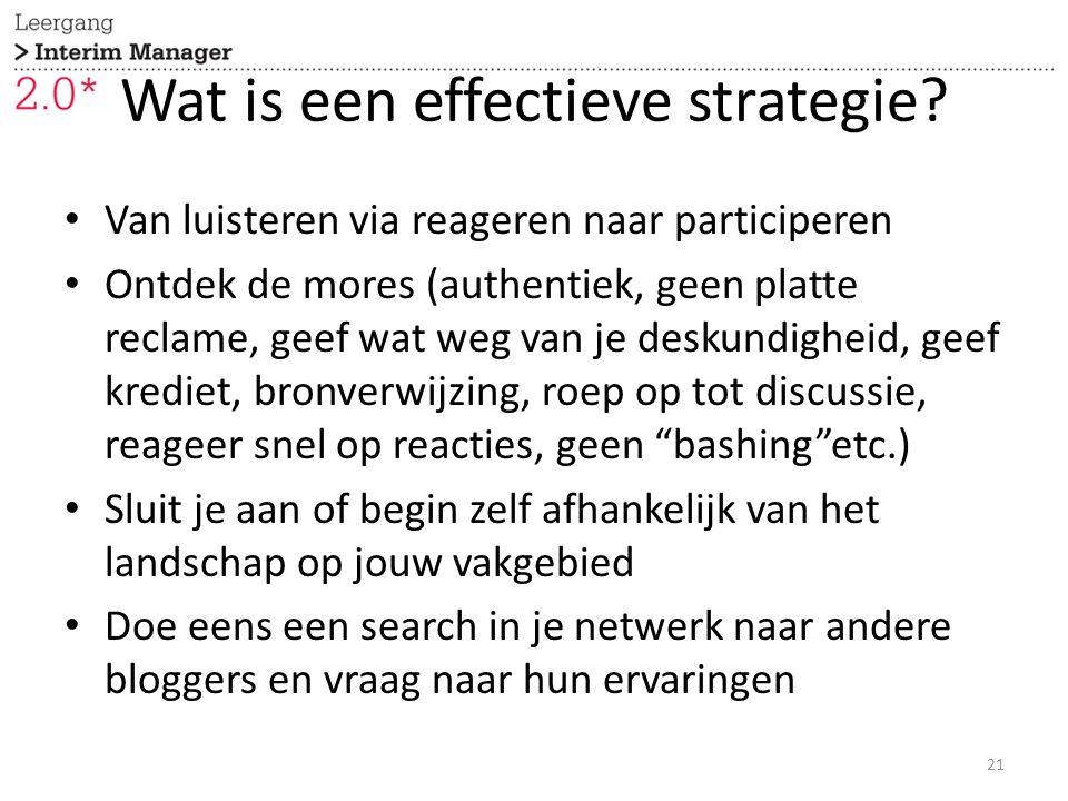 Wat is een effectieve strategie? Van luisteren via reageren naar participeren Ontdek de mores (authentiek, geen platte reclame, geef wat weg van je de