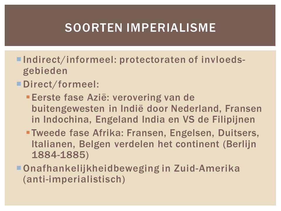  Indirect/informeel: protectoraten of invloeds- gebieden  Direct/formeel:  Eerste fase Azië: verovering van de buitengewesten in Indië door Nederla