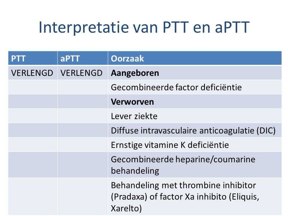 Interpretatie van PTT en aPTT PTTaPTTOorzaak VERLENGD Aangeboren Gecombineerde factor deficiëntie Verworven Lever ziekte Diffuse intravasculaire anticoagulatie (DIC) Ernstige vitamine K deficiëntie Gecombineerde heparine/coumarine behandeling Behandeling met thrombine inhibitor (Pradaxa) of factor Xa inhibito (Eliquis, Xarelto)