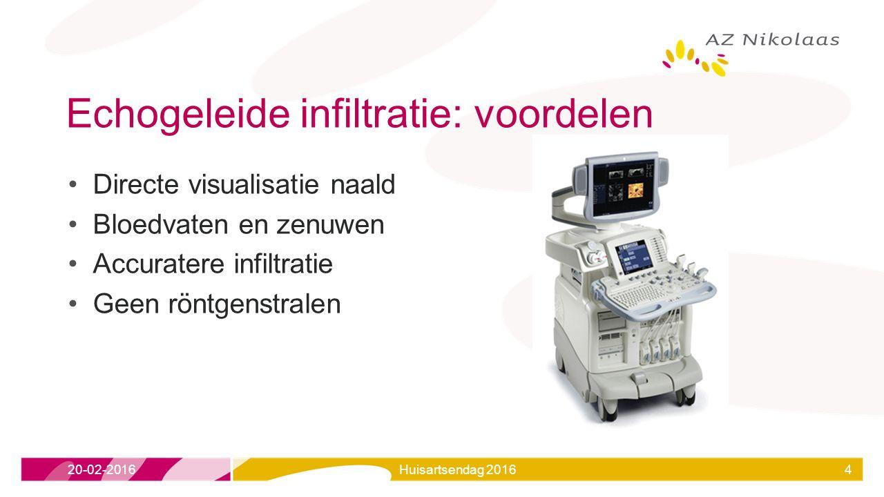 Echogeleide infiltratie: voordelen Directe visualisatie naald Bloedvaten en zenuwen Accuratere infiltratie Geen röntgenstralen 20-02-2016Huisartsendag