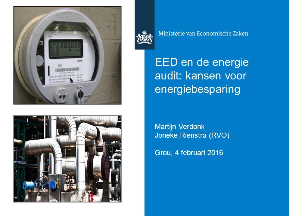 EED en de energie audit: kansen voor energiebesparing Martijn Verdonk Jorieke Rienstra (RVO) Grou, 4 februari 2016