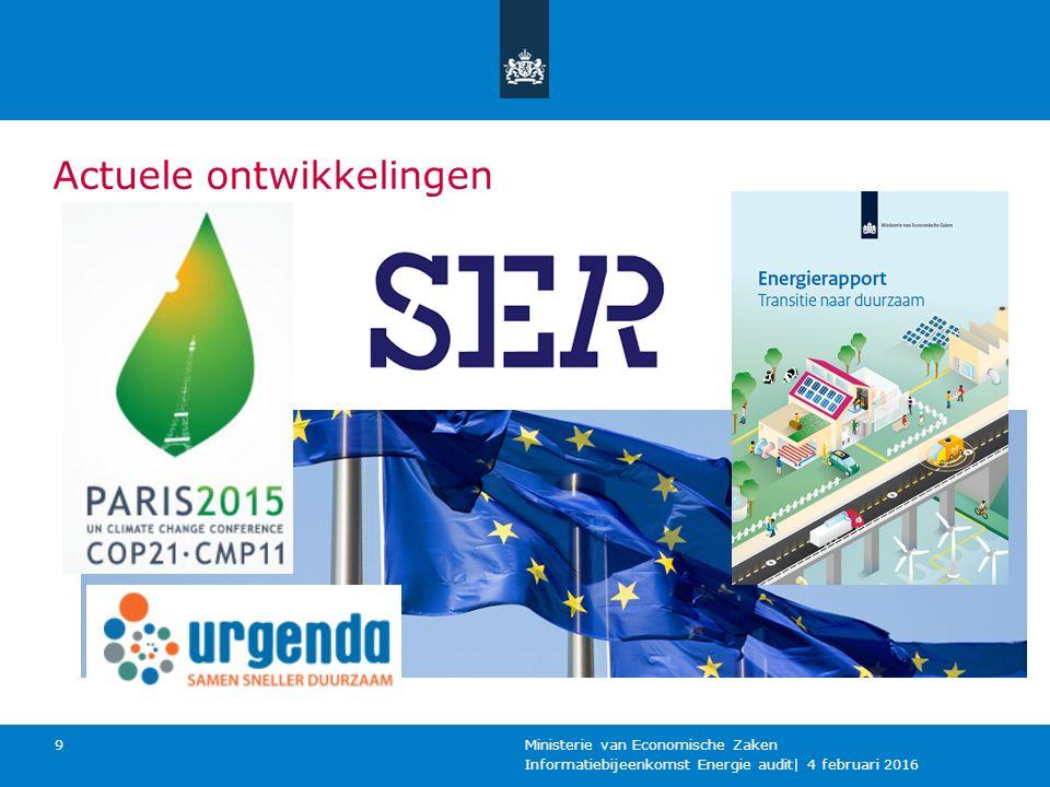 Actuele ontwikkelingen Informatiebijeenkomst Energie audit| 4 februari 2016 Ministerie van Economische Zaken 9