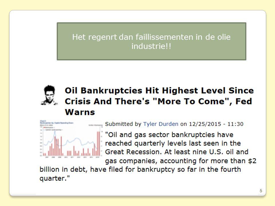 5 Het regenrt dan faillissementen in de olie industrie!!