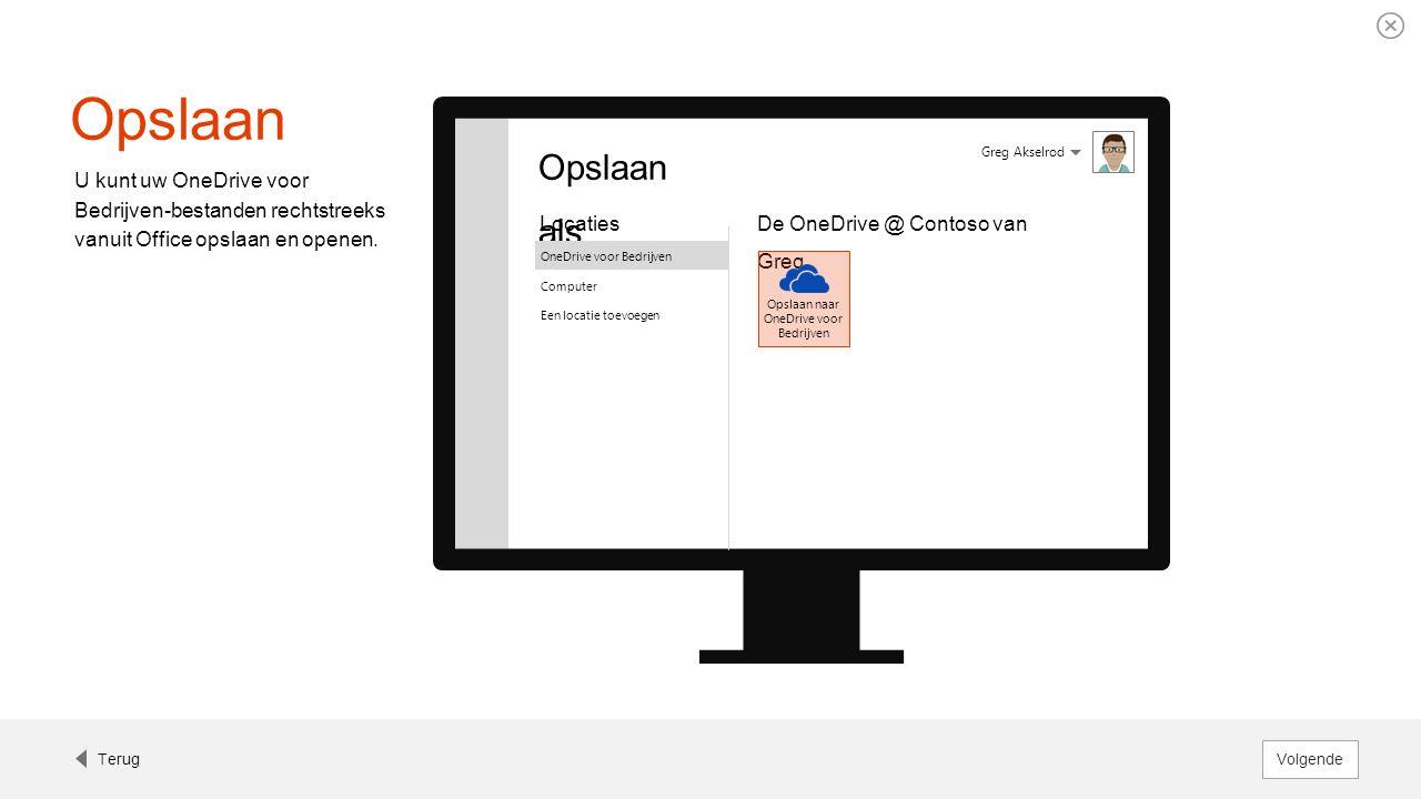 Opslaan U kunt uw OneDrive voor Bedrijven-bestanden rechtstreeks vanuit Office opslaan en openen. Greg Akselrod Opslaan als Locaties OneDrive voor Bed