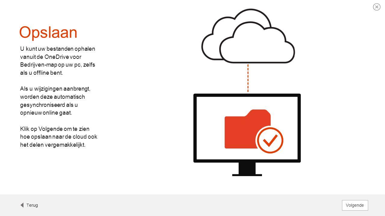 Opslaan U kunt uw bestanden ophalen vanuit de OneDrive voor Bedrijven-map op uw pc, zelfs als u offline bent. Als u wijzigingen aanbrengt, worden deze
