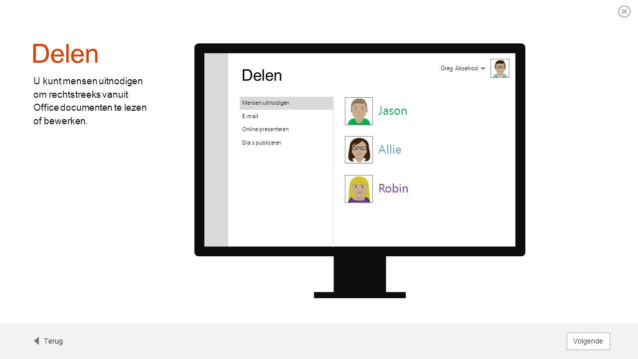 Delen U kunt mensen uitnodigen om rechtstreeks vanuit Office documenten te lezen of bewerken. Greg Akselrod Delen Mensen uitnodigen E-mail Online pres
