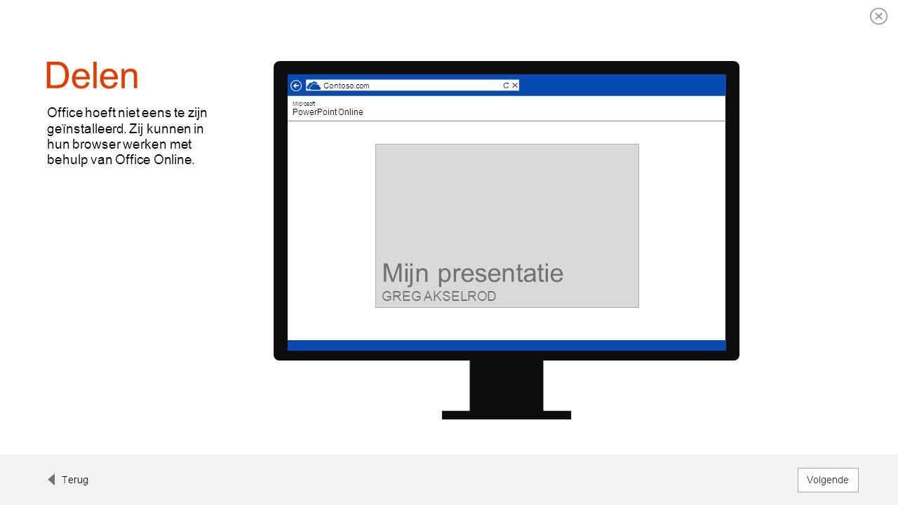 Delen Office hoeft niet eens te zijn geïnstalleerd. Zij kunnen in hun browser werken met behulp van Office Online. Contoso.com Microsoft PowerPoint On