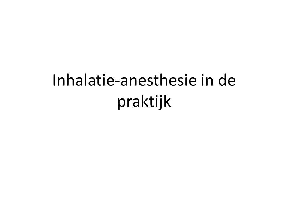 Beëindigen van de anesthesie Einde operatie: iso dichtdraaien Na 10 min zuurstof dicht en afkoppelen Controleer of dier zelf ademt Tube verwijderen zodra dier slikt Eerst cuff leeg!!.