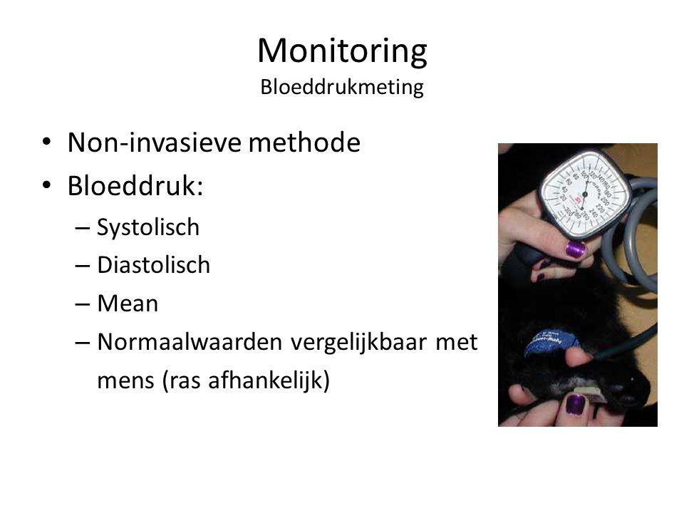 Monitoring Bloeddrukmeting Non-invasieve methode Bloeddruk: – Systolisch – Diastolisch – Mean – Normaalwaarden vergelijkbaar met mens (ras afhankelijk