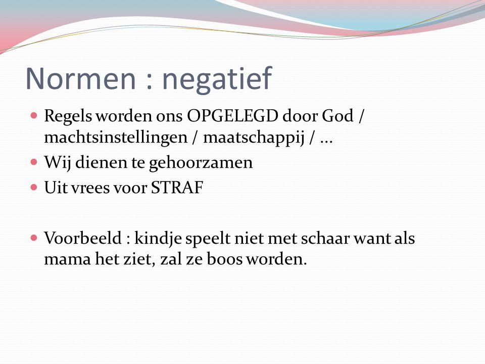 Normen : negatief Regels worden ons OPGELEGD door God / machtsinstellingen / maatschappij /... Wij dienen te gehoorzamen Uit vrees voor STRAF Voorbeel