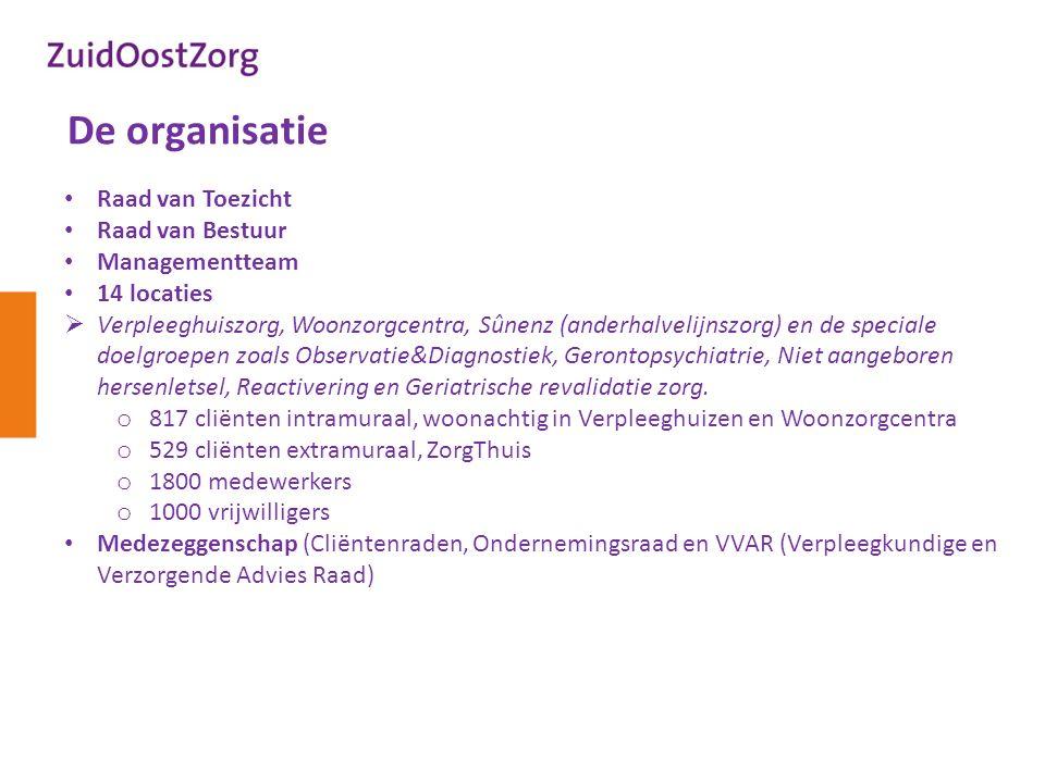 De organisatie Raad van Toezicht Raad van Bestuur Managementteam 14 locaties  Verpleeghuiszorg, Woonzorgcentra, Sûnenz (anderhalvelijnszorg) en de sp