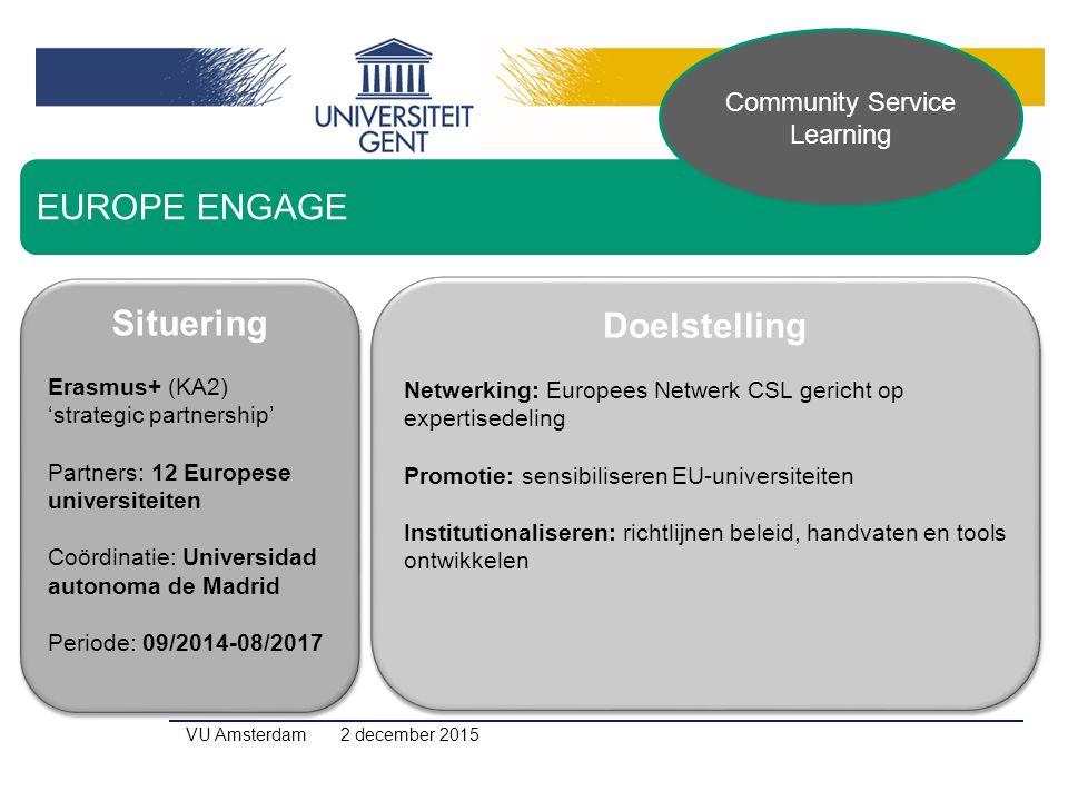Situering Erasmus+ (KA2) 'strategic partnership' Partners: 12 Europese universiteiten Coördinatie: Universidad autonoma de Madrid Periode: 09/2014-08/