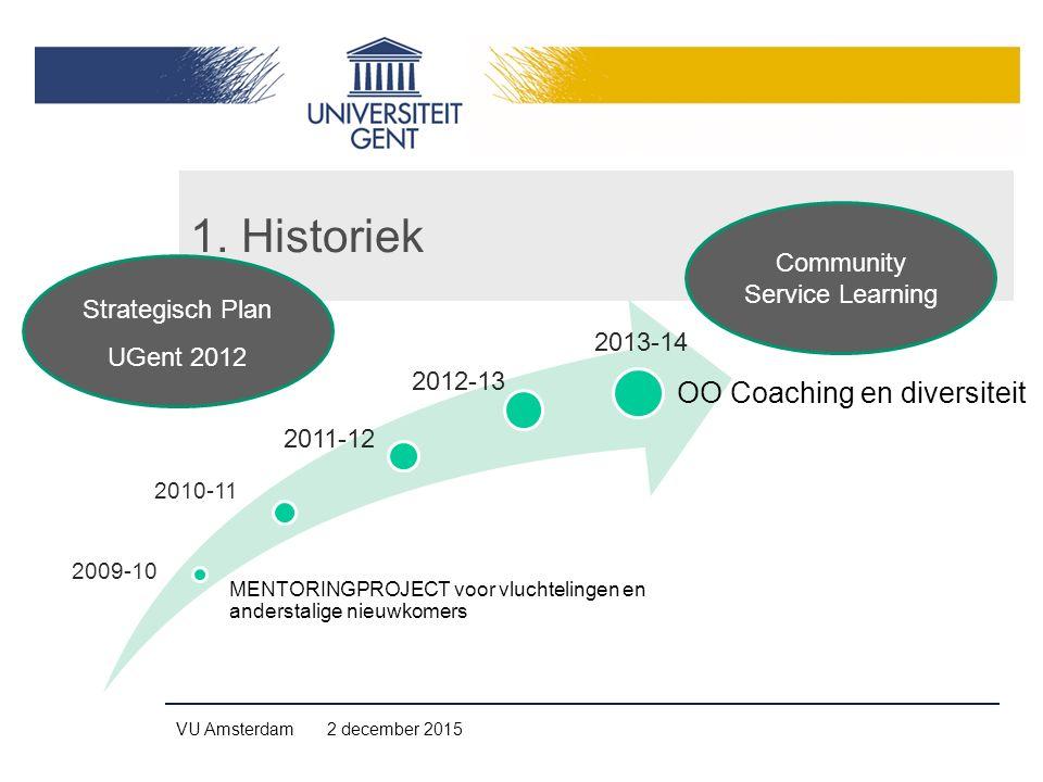 1. Historiek MENTORINGPROJECT voor vluchtelingen en anderstalige nieuwkomers OO Coaching en diversiteit 2009-10 2010-11 2011-12 2012-13 2013-14 VU Ams