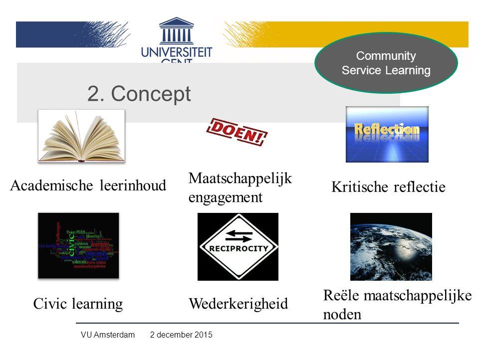 VU Amsterdam 2 december 2015 Academische leerinhoud Kritische reflectie Civic learningWederkerigheid Reële maatschappelijke noden Maatschappelijk enga