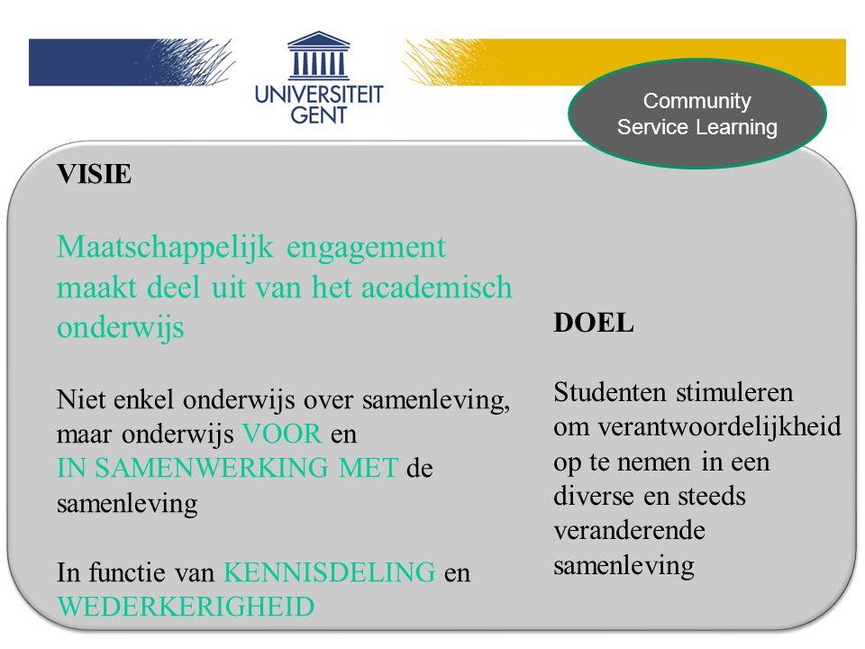 VISIE Maatschappelijk engagement maakt deel uit van het academisch onderwijs Niet enkel onderwijs over samenleving, maar onderwijs VOOR en IN SAMENWER