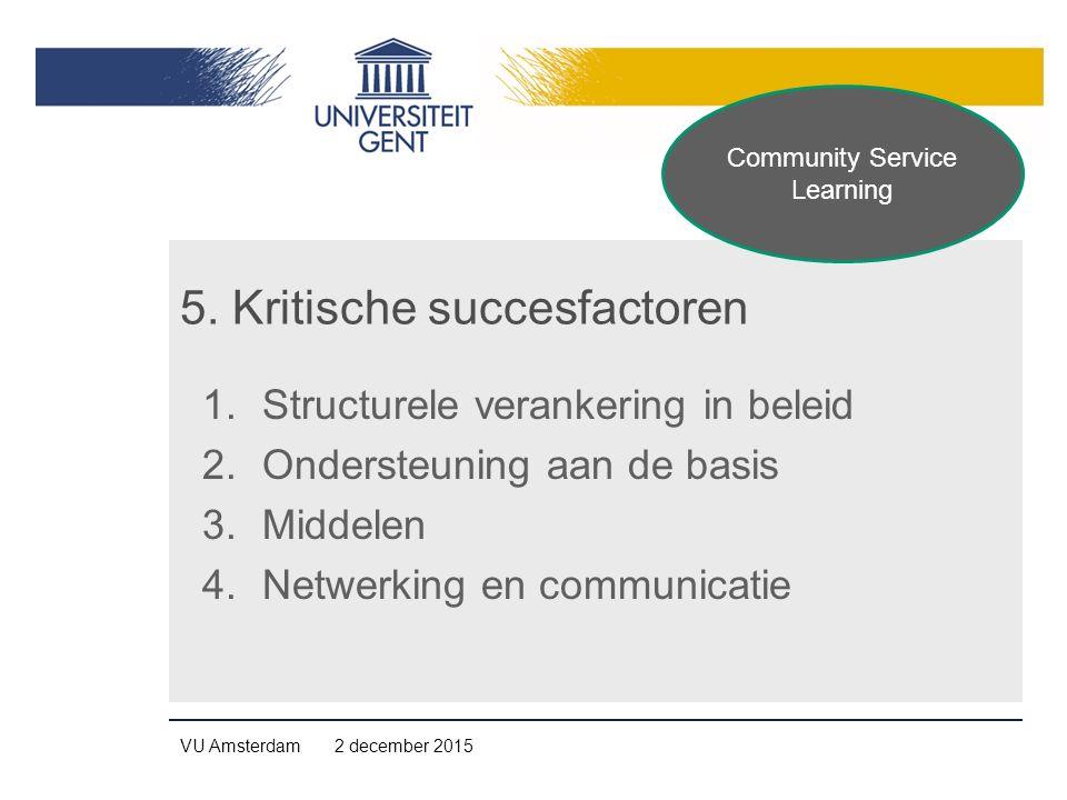 5. Kritische succesfactoren 1.Structurele verankering in beleid 2.Ondersteuning aan de basis 3.Middelen 4.Netwerking en communicatie VU Amsterdam 2 de