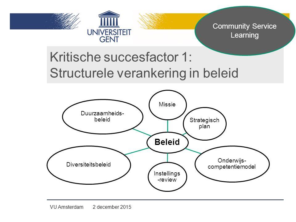 Kritische succesfactor 1: Structurele verankering in beleid VU Amsterdam 2 december 2015 Beleid Missie Strategisch plan Onderwijs- competentiemodel Instellings -review Diversiteitsbeleid Duurzaamheids- beleid Community Service Learning