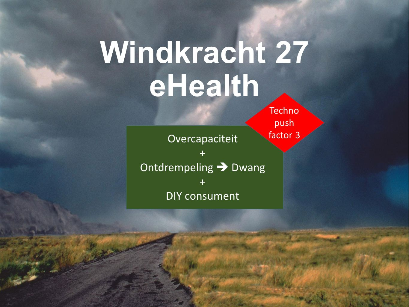 Windkracht 27 eHealth Overcapaciteit + Ontdrempeling  Dwang + DIY consument Techno push factor 3