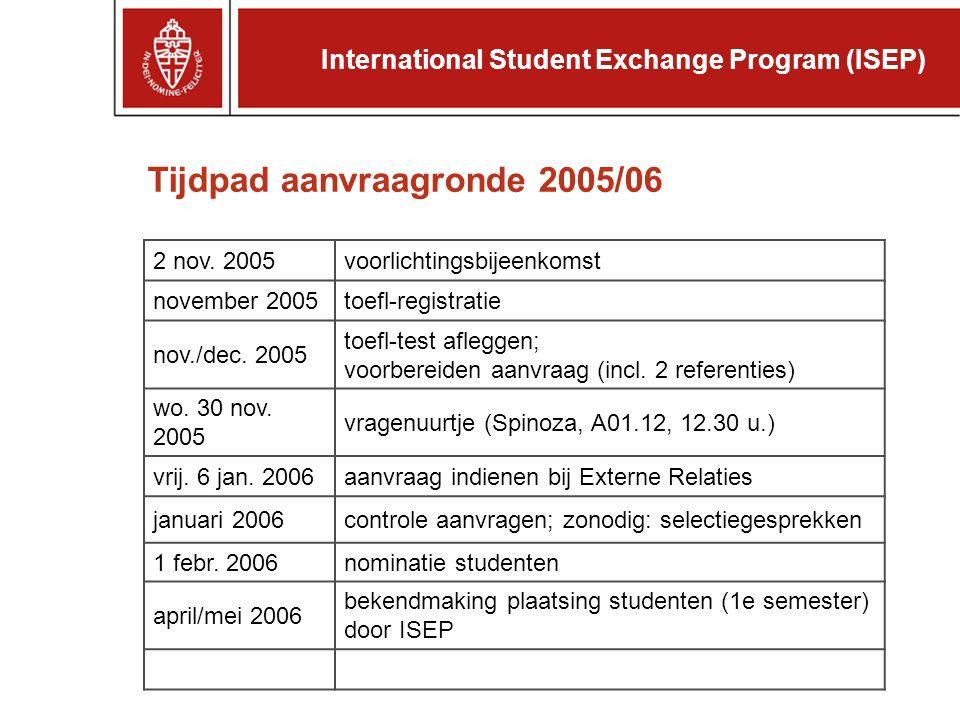 Tijdpad aanvraagronde 2005/06 2 nov.
