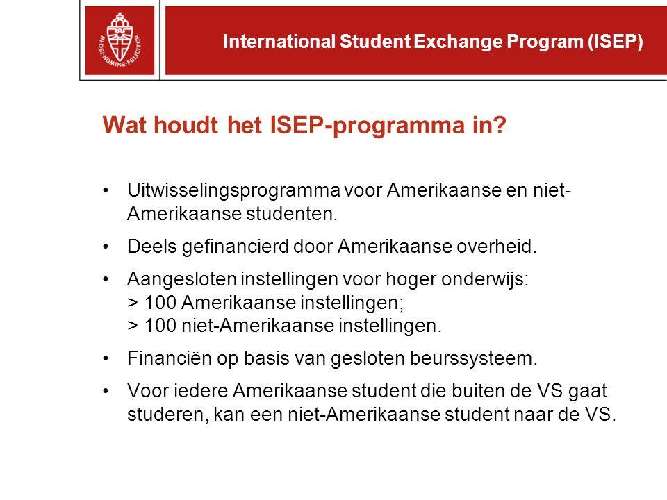 Wat houdt het ISEP-programma in.