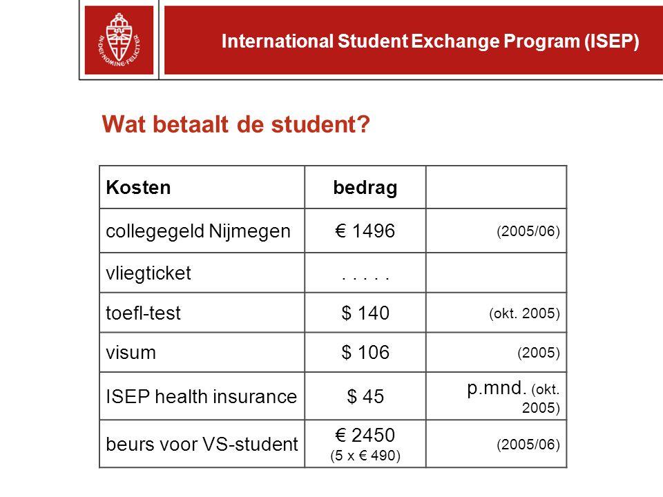 Wat betaalt de student. Kostenbedrag collegegeld Nijmegen€ 1496 (2005/06) vliegticket.....