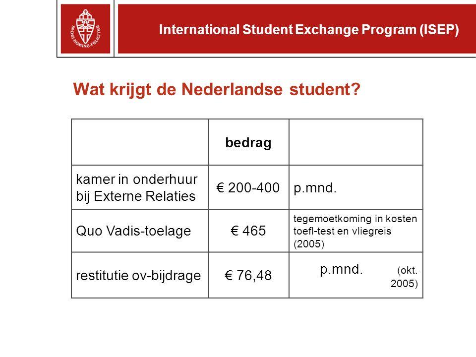 Wat krijgt de Nederlandse student. bedrag kamer in onderhuur bij Externe Relaties € 200-400p.mnd.