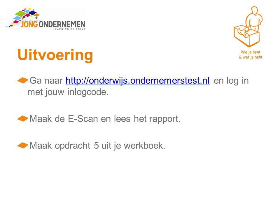 Uitvoering Ga naar http://onderwijs.ondernemerstest.nl en log in met jouw inlogcode.http://onderwijs.ondernemerstest.nl Maak de E-Scan en lees het rapport.