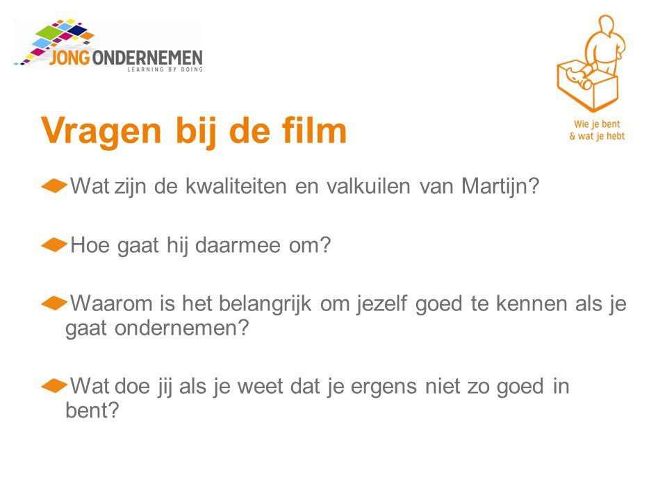 Vragen bij de film Wat zijn de kwaliteiten en valkuilen van Martijn.