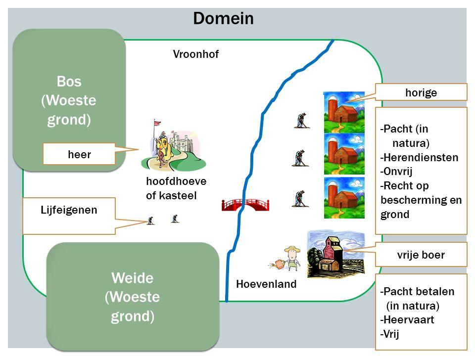 Bos (Woeste grond) Bos (Woeste grond) Weide (Woeste grond) Weide (Woeste grond) hoofdhoeve of kasteel Vroonhof Hoevenland horige vrije boer heer -Pach