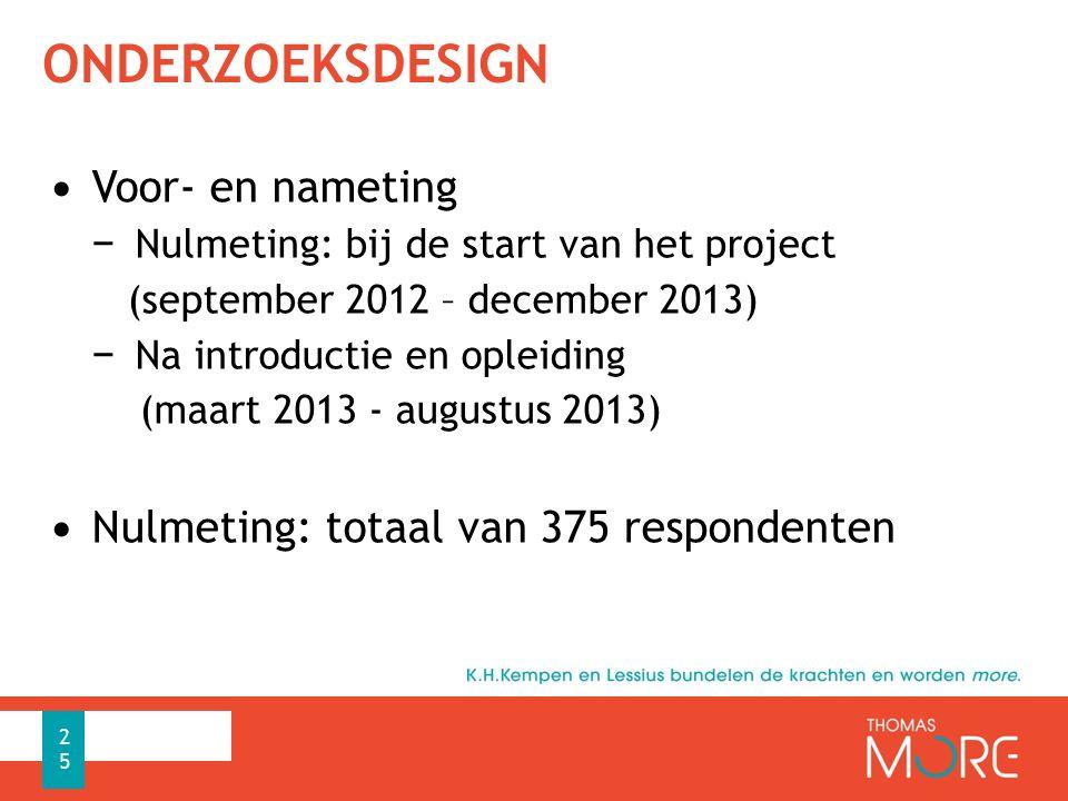 ONDERZOEKSDESIGN Voor- en nameting − Nulmeting: bij de start van het project (september 2012 – december 2013) − Na introductie en opleiding (maart 201