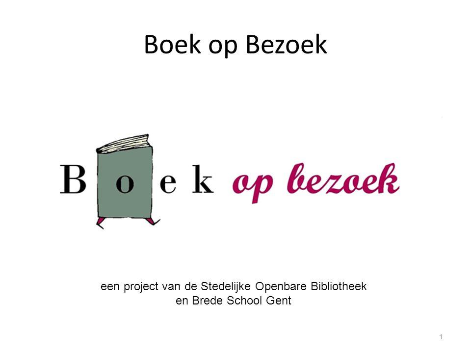 Wat is 'Boek op Bezoek ?' Voorleesproject voor oudste kleuters Bij kinderen thuis in 6 buurten in Gent (waar brede scholen zijn) Door vrijwilligers Van november tot de paasvakantie Doel : leesplezier, toeleiding bibliotheek, gemeenschapsvorming, ontmoeting 2