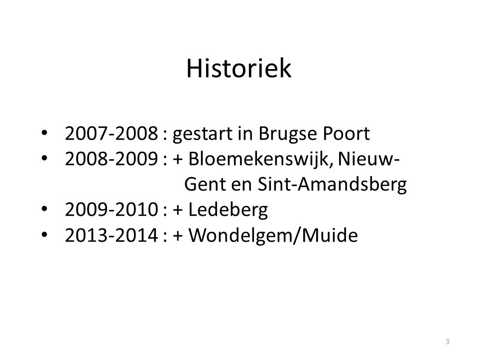 Historiek 2007-2008 : gestart in Brugse Poort 2008-2009 : + Bloemekenswijk, Nieuw- Gent en Sint-Amandsberg 2009-2010 : + Ledeberg 2013-2014 : + Wondelgem/Muide 3