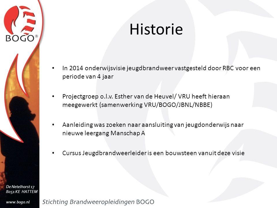 Historie In 2014 onderwijsvisie jeugdbrandweer vastgesteld door RBC voor een periode van 4 jaar Projectgroep o.l.v.