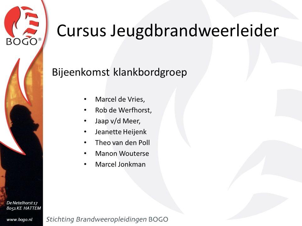 Cursus Jeugdbrandweerleider Doelen klankbordsessie Welke type kinderen/jongeren een JBL in de groep heeft Dilemma's die een JBL tegen kan komen in zijn/haar werk Welke hoofdthema's te onderscheiden zijn in het werk van een JBL De Netelhorst 17 8051 KE HATTEM www.bogo.nl